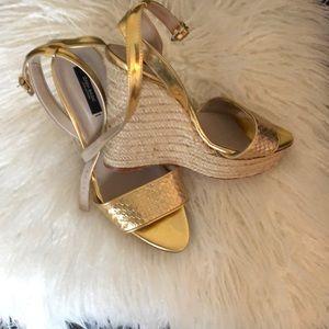 Zara Gold Wedge Sandals